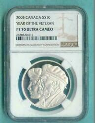 2005 Canada 10 Year Of The Veteran - Ngc Pf70 Uc /w All Packaging - Silver