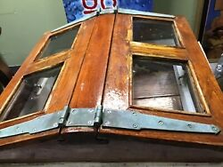 Antique Salvaged Sail Boat Butterfly Teakwood, Glass Deck Hatch Cover Original