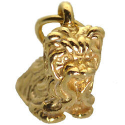 NICE 3D Real Authentic Genuine 10K Yellow Gold Yorkshire Terrier Charm Dog puppy