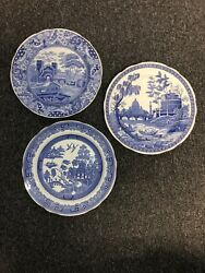 """Spode Blue Room Collection 3 Plate Set Rome, """"castle"""" And """"willow"""""""