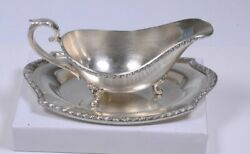 Vintage Wickford Ornate Silver Plate Gravy Sauce / Boat And Tray 3.75h X 9l