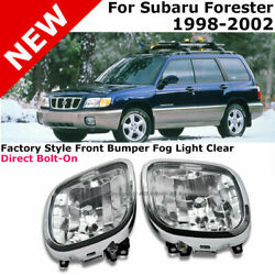 For 98-02 Subaru Forester | Fog Lights Pair Clear Front Driving Lamp Replacement
