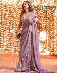 New Traditional Party Wear Indian Saree With Embroidery Work Sari LG 1129