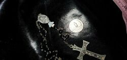 Vintage Antique Wood Rosary Beads From Italy Silver Tone Crucifix