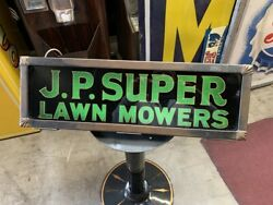 1920's J.p. Super Lawn Mower Reverse Glass Advertising Sign Watch Video