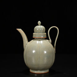 9 Chinese Old Fine Antique Porcelain Pea Green Yue Kiln Carved Woman Teapot