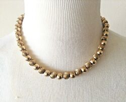Vintage 1940s 14k Yellow Gold 9mm Fluted + Plain Bead Necklace 16 46 Gram