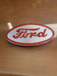 Ford Tractor 8n16600a Emblem Front Hood Grille Red Letters And Gray Backround 8n