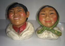 Vintage Clay Eskimo Man And Woman Bust Sculptures By Alaskan Arstist P. Tuckichuk