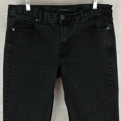 Calvin Klein womens size 14 stretch faded black mid rise flare denim jeans EUC $11.01