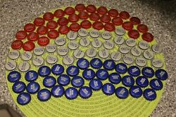 100 Red White Blue Beer Uncrimped Beer Bottle Caps Flag Free Fast Shipping