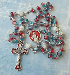 Divine Mercy Rosary With 2 Color Crystal Beads With Red Enamelitalyhandmade