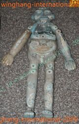 37china Dynasty Old Inlay Natural Turquoise Monarch Funeral Boy Tong Zi Statue