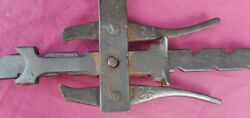 Patented Antique Cast Iron Fence Post Cranking Ratcheting Wire Stretcher Puller