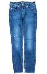 Calvin Klein Womens Mid Rise Skinny Destroyed Jeans Size 25 $12.95