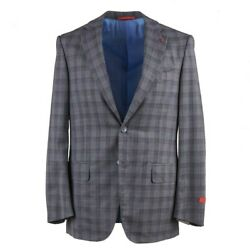 Isaia Mid Gray Check Super 150s Lightweight Wool Suit 38r Eu 48 Nuova Base S
