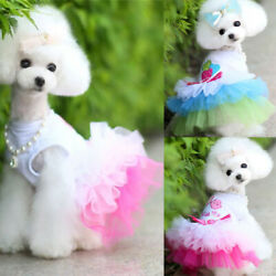 Puppy Pet Dog Clothes for Small Girl Dog Sweety Lace Princess Dress Apparel $3.78