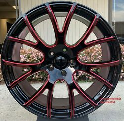 24and039and039 Inch Dodge Ram Hellcat Gloss Black Red Milled Wheels Ram 6lug 2019-2021