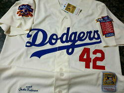 Los Angeles Dodgers Jackie Robinson Throwback Jersey Ivory Xxl 2 Patch Nwt