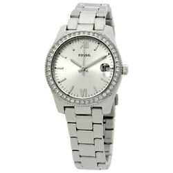 Fossil Women#x27;s Scarlette Silver Stainless Steel Glitz Quartz Watch ES4317 $74.75