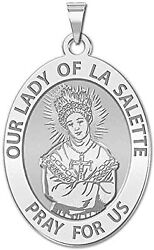 Our Lady Of La Salette Religious Medal-oval 14k Yellowwhitegoldsterling Silver