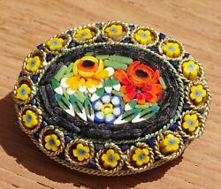 Vintage Floral Micro Mosaic Womens Brooch Fashion Jewelry Gold Toned Back