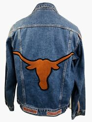 New W Tag University Of Texas Longhorns Official Embroidered Mens M Denim Jacket