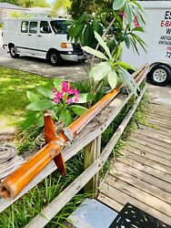 Beautiful Antique 1950and039s 16and039 Hollow Wood Sailboat Mast And Nineand039 Bottom Sail Piece