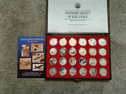 24 Ww2 Aircraft Marshshall Islands 50 Silver Proof 1 Oz .999 Silver Coins