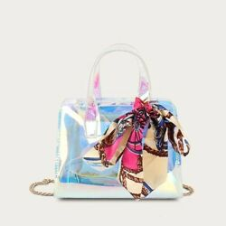 Holographic Clear Small Chain Satchel Crossbody Bag with Twilly Scarf For Women $25.00