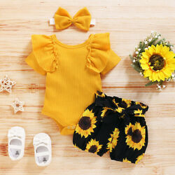 Newborn Baby Girl 3PCS Clothes Floral Romper Jumpsuit Shorts Headband Outfit Set $14.59