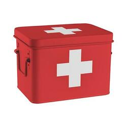 Vintage First Aid Storage Canister Metal Square Box Airtight Seal Red