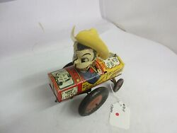 Vintage Tin Toy Marx Milton Berle Wind Up Crazy Car Works 131-f