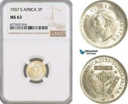 Af146 South Africa Union George Vi Threepence 3 Pence 1937 Silver Ngc Ms63