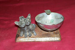 Antique Terrier Dog Animal Cigarette Ashtray Old Vintage Collectible Collector