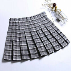 Plaid High Waist Flared Pleat A Line Mini Skater Skirt With Safety Shorts Conven