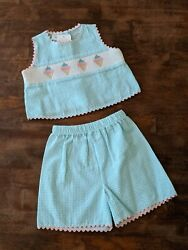 NWT 3T Silly Goose Toddler Smocked ICE CREAM CONES Matching Shorts Set Boutique  $25.00