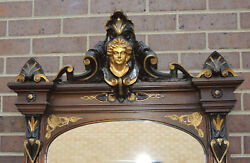 Stunning Victorian Mahogany Full Length Pier Hall Mirror Gilt Carved Womans Face