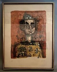 Paul Augustin Aizpiri French Color Lithograph Of Clown From J.l. Hudson Gallery