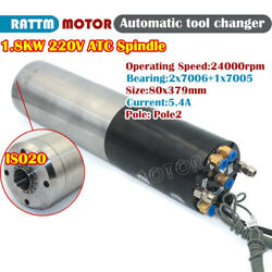1.8kw 220v Iso20 Atc Water Spindle Motor 4bearing Automatic Tool Changer 2pole