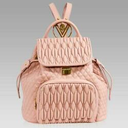 Valentino Orlandi Designer Large Backpack Nude Quilted Leather Bucket Bag Purse $1,100.00