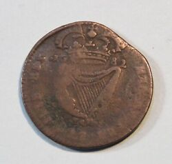 1682 Ireland 1/2 Penny Copper Coin Eire King Charles Ii Crowned Irish Harp
