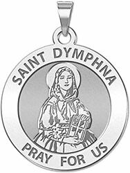 Saint Dymphna Round Religious Medal - 2/3 Inch Size Of Dime Sterling Silver