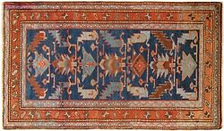 Antique Decorative Geometric Oriental Rug, In Small Size, With Free Shipping