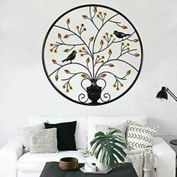 24.4#x27;#x27; Tree of Life Hanging Wall Metal Art Round Hanging Sculpture Home Decor US