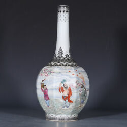 12.2 Antique Chinese Porcelain Qianlong Mark Famille Rose Eight Immortals Vases