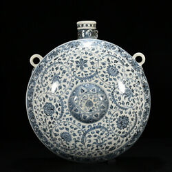 19.3 Chinese Old Fine Antique Porcelain Yongle Blue White Flower Pattern Teapot