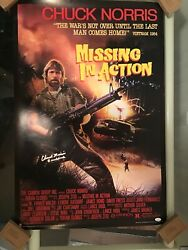 Chuck Norris Missing In Action Signed Full Sized Poster Jsa Witnessed Braddock