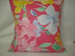 Floral in PinkBlueYellow Decorative Accent Throw Pillow Cover 14x14
