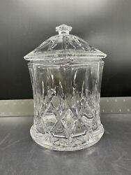 """Heavy Cut Leaded Crystal Cookie, Biscuit, Candy Jar With Lid 9"""" Tall"""